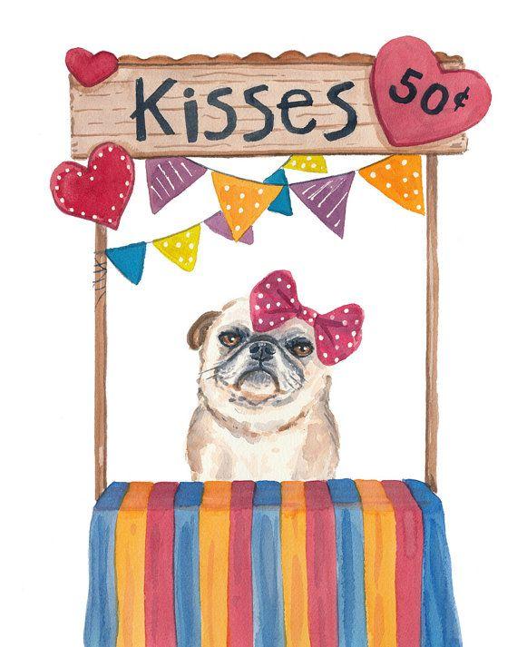 Kissing Booth Watercolor - Pug Watercolour PRINT, 8x10 Painting Print, Nursery Art, Dog Art