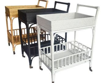 Oval Natural Rattan Bar Cart in Natural White or Black