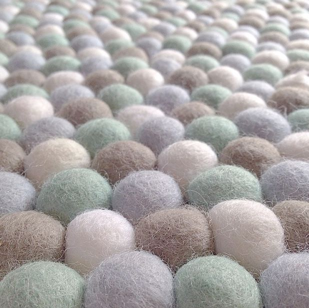 Felt Ball Rug In Light Blue Pale Mint White Taupe Round