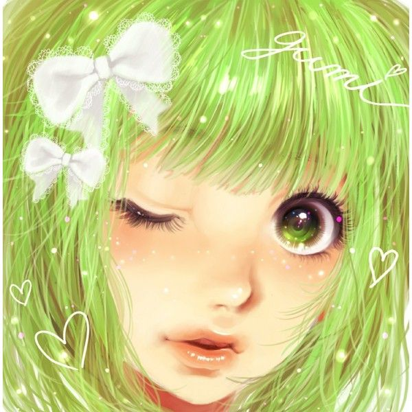 bow face green eyes green hair gumi hair bow heart lips minami haruya... ❤ liked on Polyvore