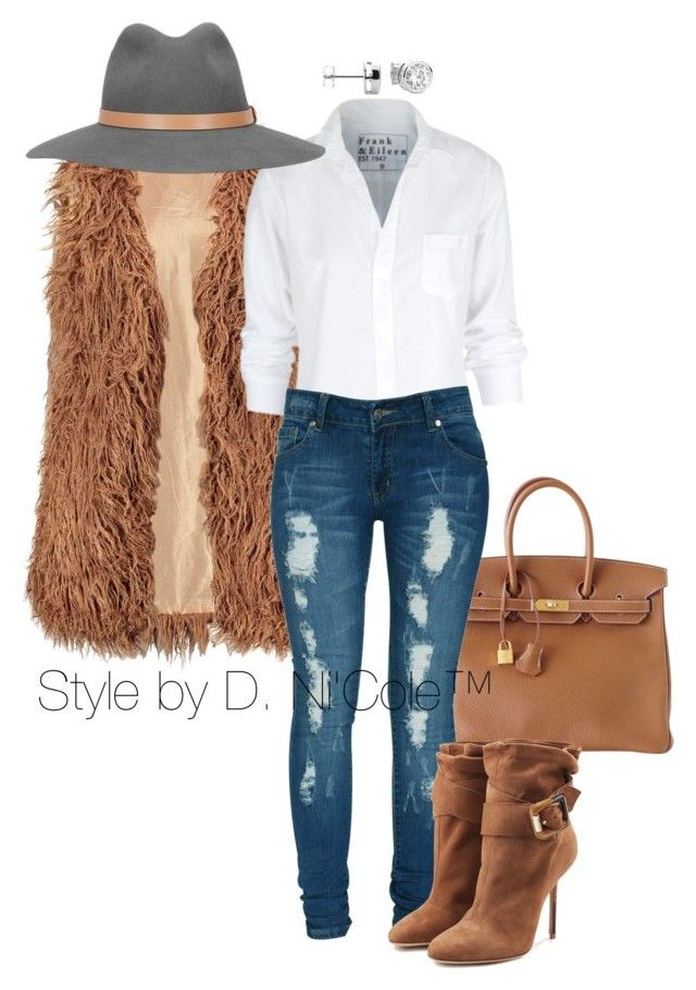 """Untitled #3001"" by stylebydnicole ❤ liked on Polyvore featuring moda, Hermès, Frank & Eileen, Criminal Damage, Burberry i rag & bone"