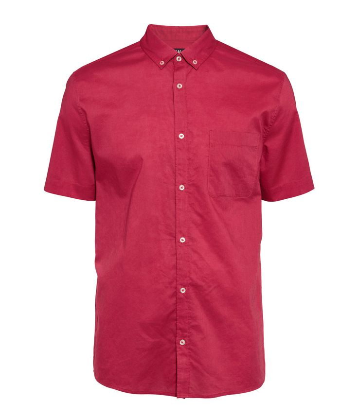 Red button-down short-sleeved shirt with chest pocket. | H&M For Men