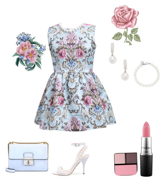 """""""Untitled #52"""" by evelin-pap on Polyvore featuring WithChic, Dolce&Gabbana, Oscar de la Renta, Tiffany & Co., Belpearl, MAC Cosmetics and Surratt"""