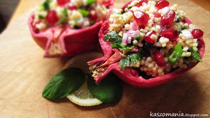 Kaszomania - pomysły na dania z kaszy jaglanej: Sałatka z kaszy jaglanej i granatu - Tabbouleh