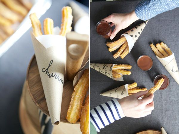 Churros con Chocolat | Oh Happy Day!  *If we have churros do we need to change from Mexican to Spanish food?