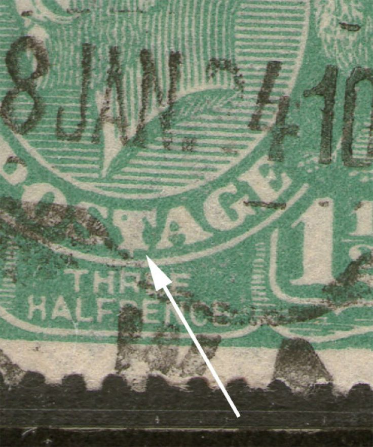KGV Heads 1½d Green BW88(11)e - Flawed T of POSTAGE - Position 11L49. Find more KGV Heads at Stamp Shop