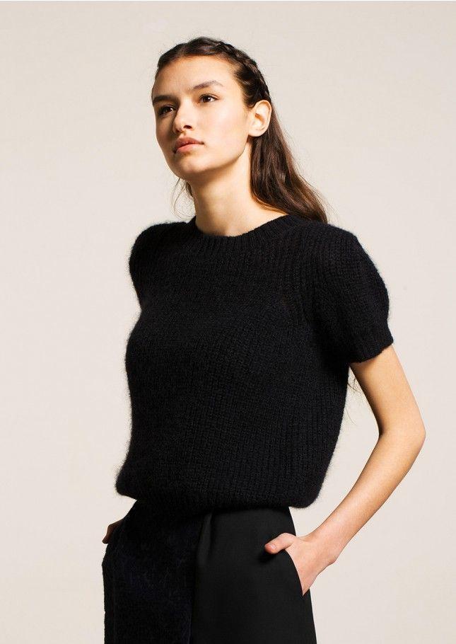Pull manches courtes en mohair noir - femme - tara jarmon 3