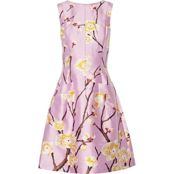 Oscar de la Renta for THE OUTNET Silk and wool-blend floral-jacquard... (16,705 MXN) ❤ liked on Polyvore featuring dresses, lilac, jacquard dress, loose dress, floral fitted dress, flared dress and flower print dress