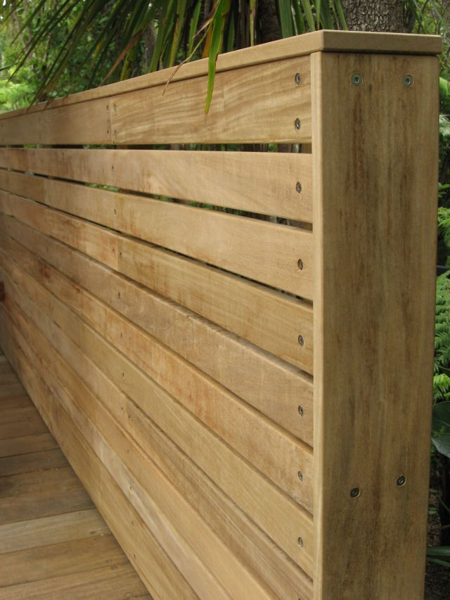 Fence Or Screen With Horizontal Vitex Battens Fixed With