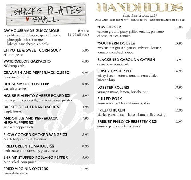Scanned menu for Driftwood Southern Kitchen