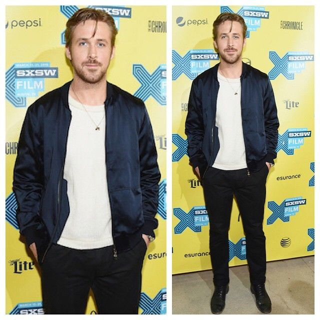 "Actor Ryan Gosling attends the premiere of his movie ""Lost River"" during the 2015 SXSW Music, Film + Interactive Festival in Austin, Texas. Dries Van Noten Vick Satin Bomber Jacket in navy ($1,155)."