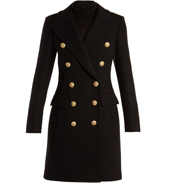 Balmain Double-breasted wool and cashmere-blend coat ($3,430) ❤ liked on Polyvore featuring outerwear, coats, black, military style wool coat, balmain, double-breasted wool coats, oversized wool coats and slim fit wool coat