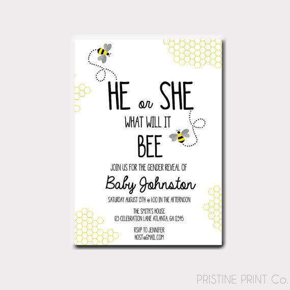 Bumble Bee Gender Reveal Invitation What Will by PristinePrintCo
