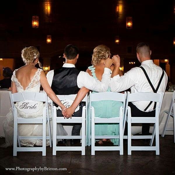 So cute with the maid of honor and best man!