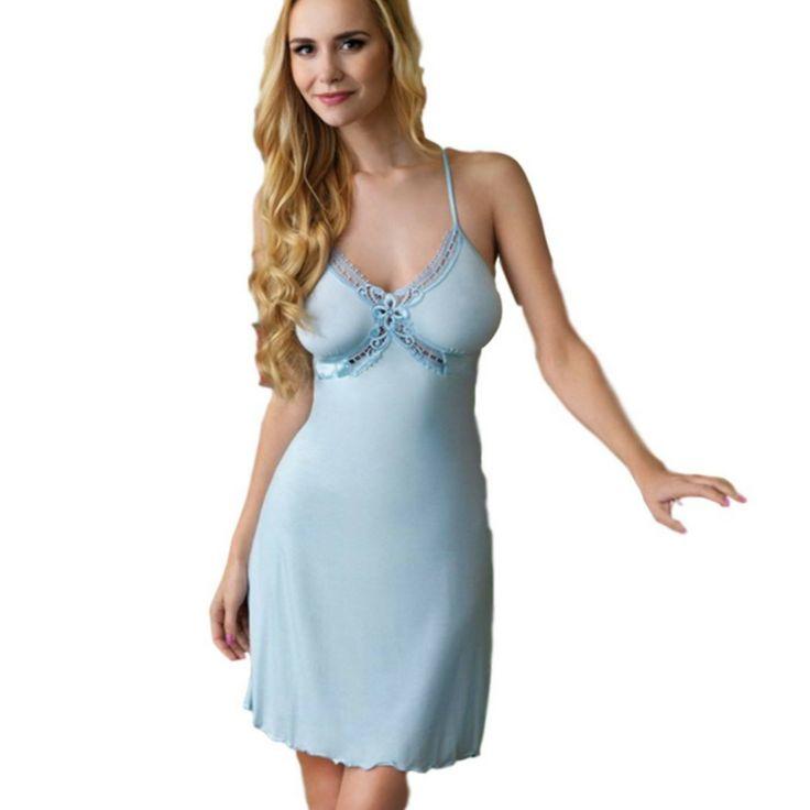 Vanilla Strappy Embroidered Lace & Satin Nightdress - Cream  - Blue