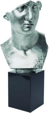 Modelo:  Silver Uomo  Descripción:  Busto decorativo plateado con base de granito negro   Código:  69115