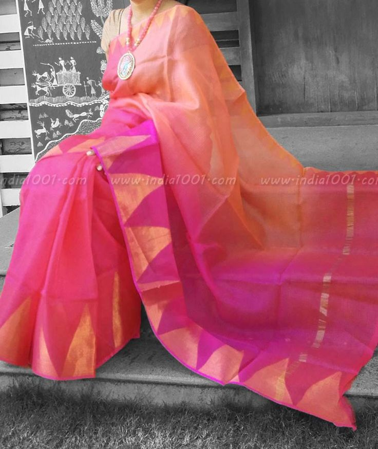 Elegant Kota Silk Saree with Temple Border – India1001.com