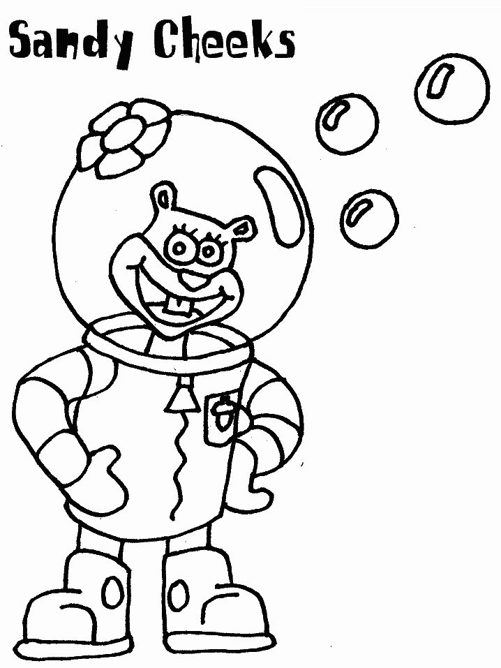 Sandy Cheeks Coloring Pages For Kids Printable Spongebob Squarepants
