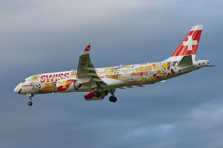 Swiss International Airlines (LX/SWR) Bombardier CSeries CS300 HB-JCA (MSN 55010) on final approach to runway 35C at Graz Airport (GRZ/LOWG).  This aircraft has only been in service for less than two months. It is the first CS300 for Swiss and to the best of my knowledge it is the first landing of the type at GRZ. I especially like the fantastic special livery on this aircraft.  Nikon D600 + AF-S VR Zoom-Nikkor 70-300mm f/4.5-5.6