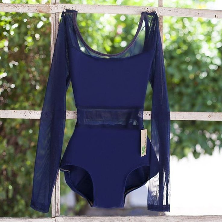 Simply beautiful classic style ballet leotard in navy blue mesh with long sleeves.