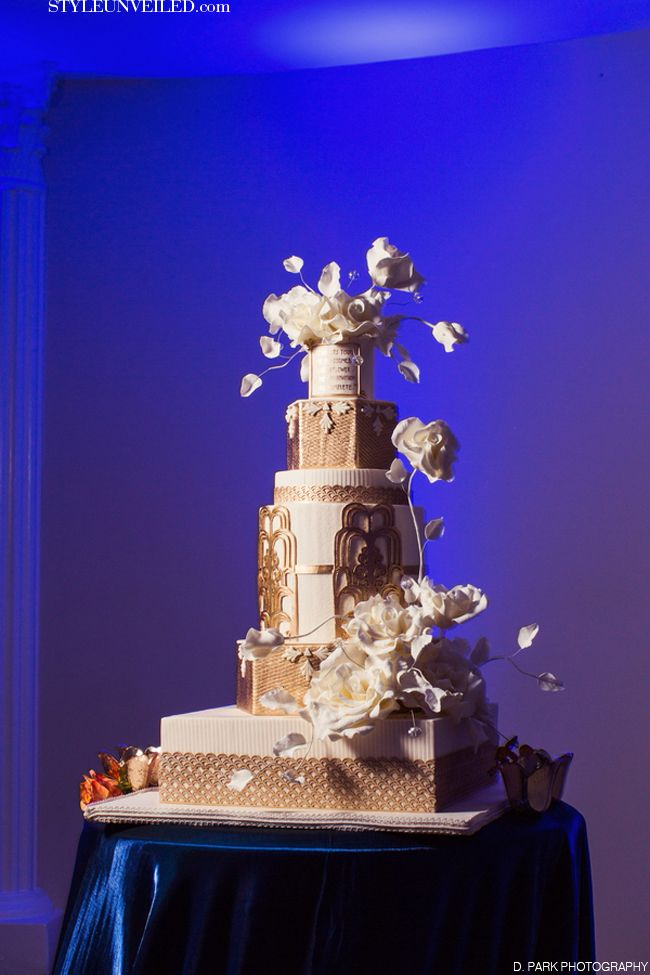 Art Deco Inspired Wedding Cake : Art Deco Inspired Wedding Cake - White and Gold