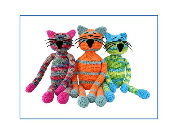 plush portrait of 3 cats crocheted cats digital by pattihaskins, $10.00Cat Dogs Mic, Cat Crochet, Cat Digital, Cats Beds Plus, Crochet Cat, Cat Earse Toys Amineko