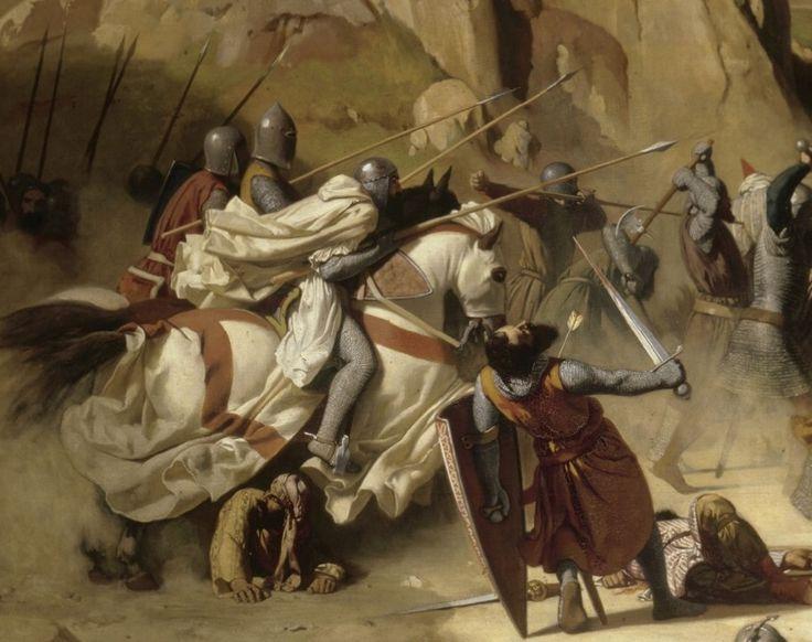 """[Montgisard]. """"Naquele dia, os nossos homens perseguiram os turcos, matando e cortando-os em pedaços, desde o lugar onde foi o campo de batalha, chamado Montgisard, até o pântano chamado Licanons, a doze milhas de distância."""" [Sébastien Mamerot]."""