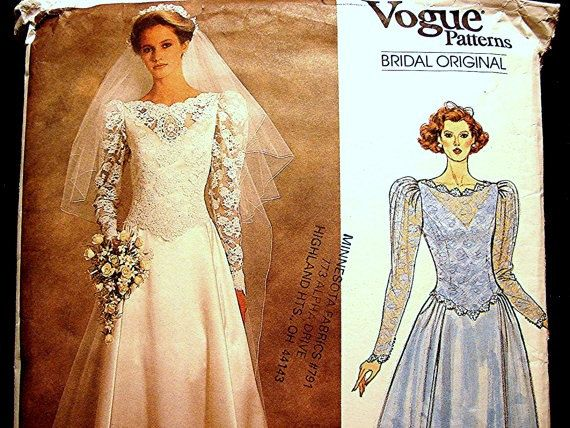 1980s Wedding Dress Pattern Vogue Bridal Gown with Train or Ankle Length and Petticoat Pattern, on Etsy by PatternsFromThePast