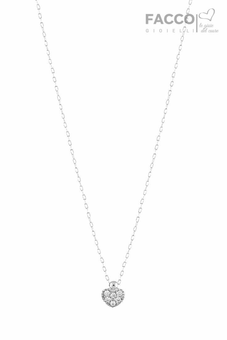 Collana bambina, Facco Gioielli, in oro bianco 750‰, pendente cuore con pavè di zirconi