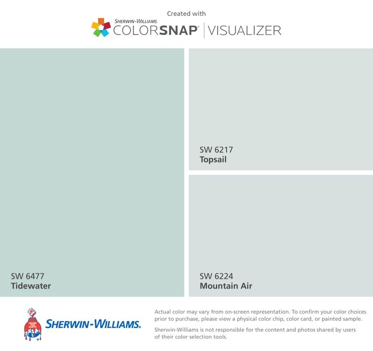 I found these colors with ColorSnap® Visualizer for iPhone by Sherwin-Williams: Tidewater (SW 6477), Topsail (SW 6217), Mountain Air (SW 6224).