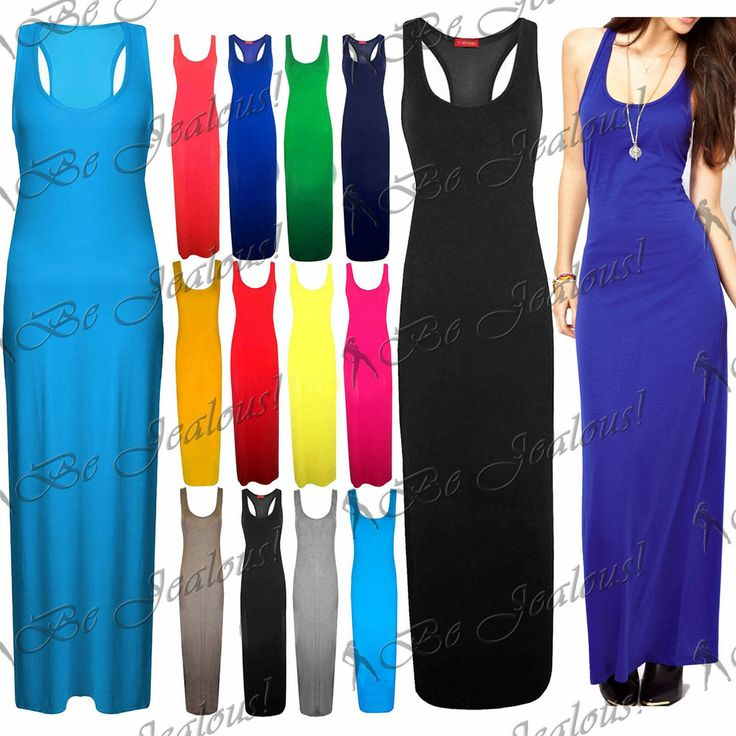 Womens Stretchy Plain Racer Back Ladies Long Vest Party Top Jersey Maxi Dress