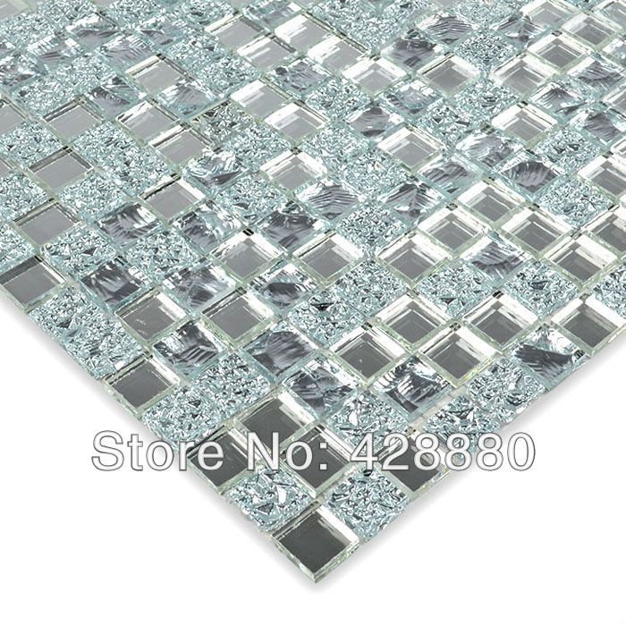 Crystal Glass Wall Tiles Mirror Tile Backsplash Kitchen ideas Mirror Mosaic Tile designs Bathroom Mirrored Wall stickers HS0031