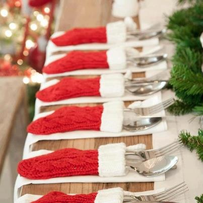 Pick up mini stockings at the dollar store for silverware