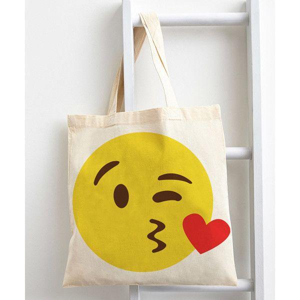Emoji Kissy Emoji Tote Bag ($20) ❤ liked on Polyvore featuring bags, handbags, tote bags, white cotton tote bag, tote bag purse, white tote bag, tote purse and handbags totes