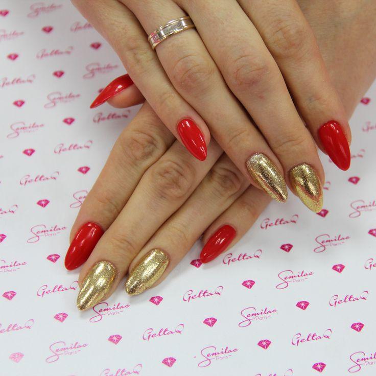 #longnails #nails #gold #red #semilac #glitter