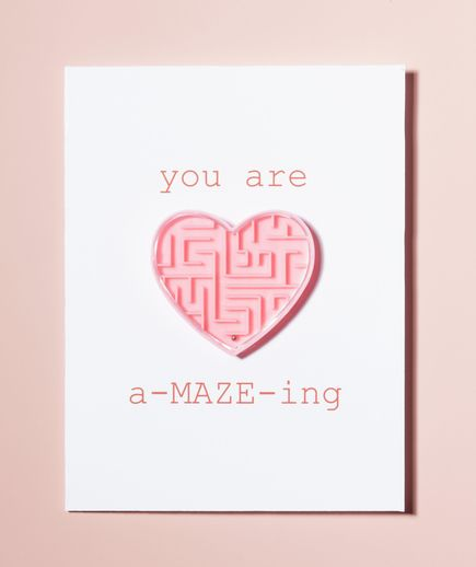 Homemade Valentine card with heart maze