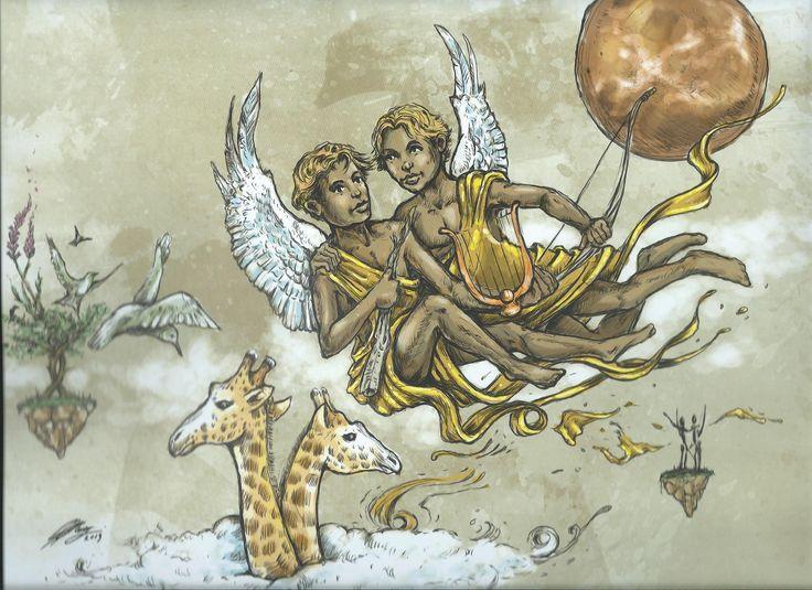 GEMINI - African Zodiac from 2014 Art Publishers Calendar Illustrations by Blue Ocean Design