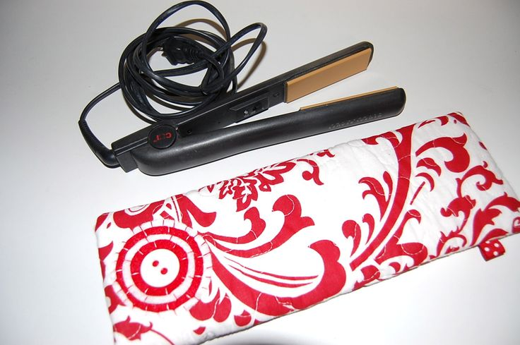 Flat Iron Holder, Curling Iron Holder, Curling Iron Travel Bag, Flat Iron Case, Flat Iron Cover, Flat Iron Sleeve, Red, White, Quilted by Sewmuchfunstuff on Etsy
