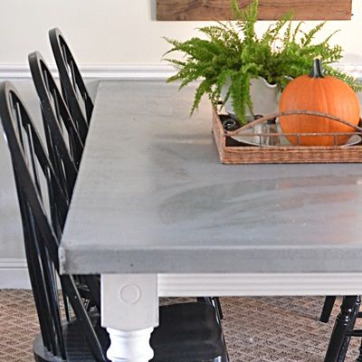 DIY Aged Zinc Top Table - I don't have a friend who owns a steel shop, so this may not be do-able, but I have always loved the inspiration table.