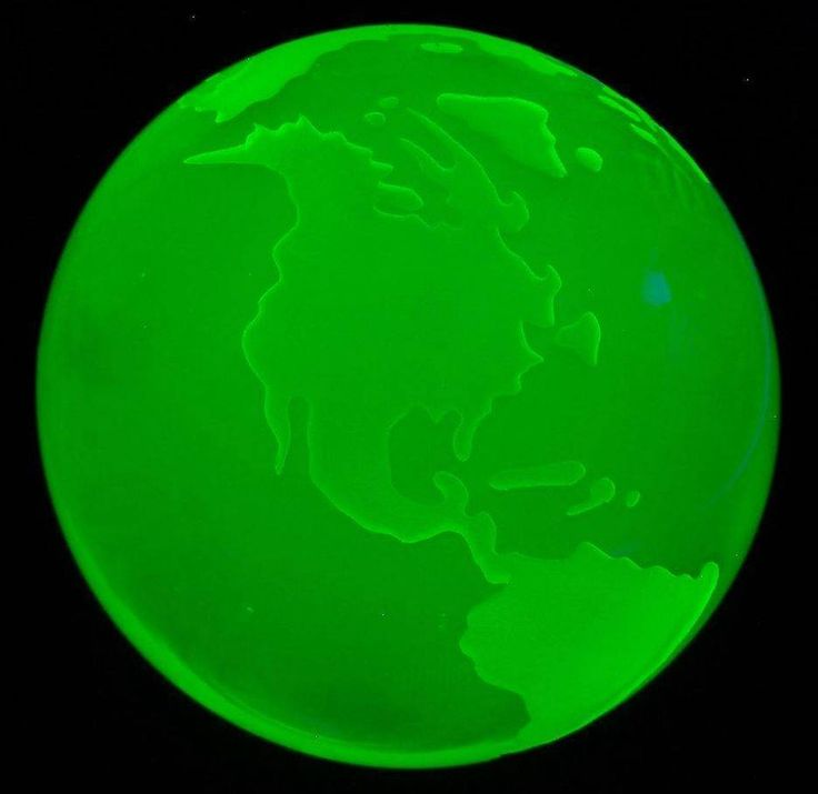 "Yellow Uranium Vaseline UV Glow Earth Globe Czech Glass Art Paperweight 3"" 78mm"