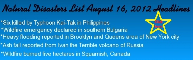 Natural Disasters List August 16, 2012 ~ Recent Natural Disasters