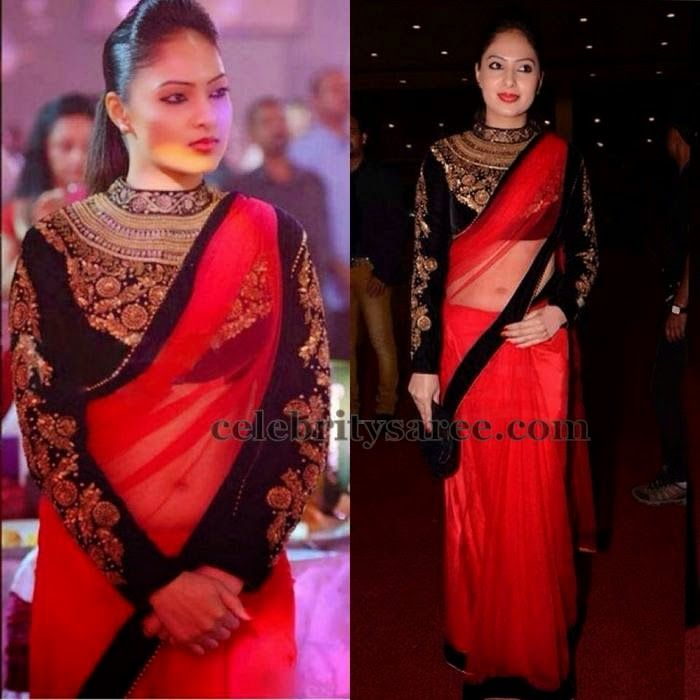 Nikesha Patel Long Sleeves Blouse | Saree Blouse Patterns