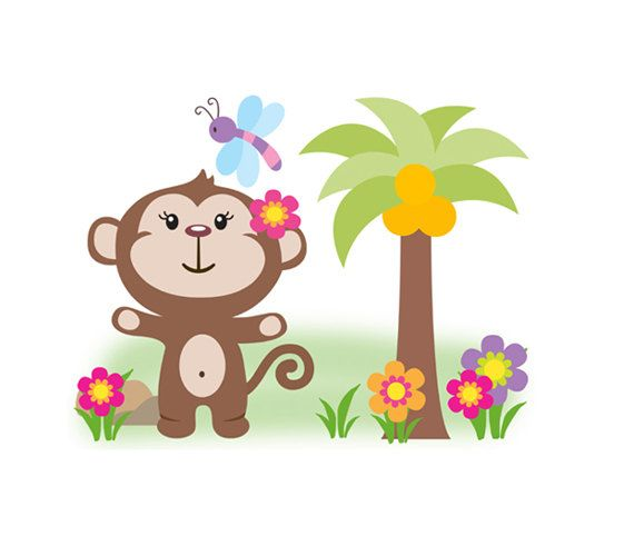 MONKEY NURSERY DECAL Girl Wall Art Safari Animal Mural Baby Jungle Stickers Room Decor Shower Decorations Kids Pink Floral Dragonfly Bedroom #decampstudios