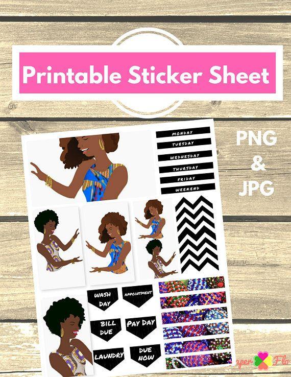 African American Printable Planner Stickers Printable Planner