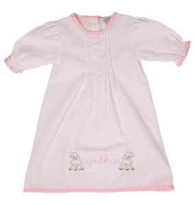 White and Pink Layette Gown
