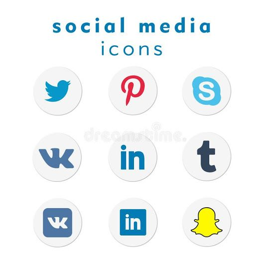 A new 2018 collection of 9 popular social media icons in circular shapes for use in print and web projects. Icons include Twitter, Pinterest, Skype, Vko... - Eduard I.P. - Google+