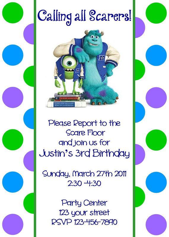 Girls or Boys Monsters Inc Printable Birthday Party Invitation Digital Print Your Choice