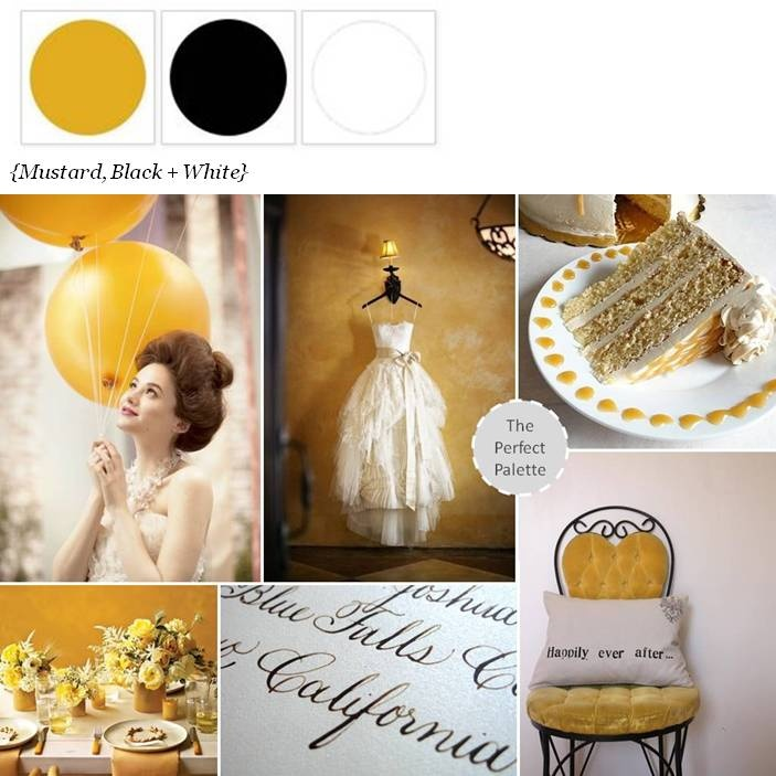 {Happily Ever After}: Mustard, Black + White! http://www.theperfectpalette.com/2013/03/happily-ever-after-palette-of-mustard.html