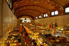 With its origins dating back to 1840 the West Side Market is Cleveland's oldest publicly owned market. Beginning as an open air marketplace on a tract of land donated by two Ohio City landowners at the corner of West 25th & Lorain, it has undergone much growth and many improvements. Today the market is home to more than 100 vendors of great ethnic diversity--selling fine meats, fresh vegetables, seafood, baked goods, dairy and cheese products, ready-to-eat meals and even fresh flowers.