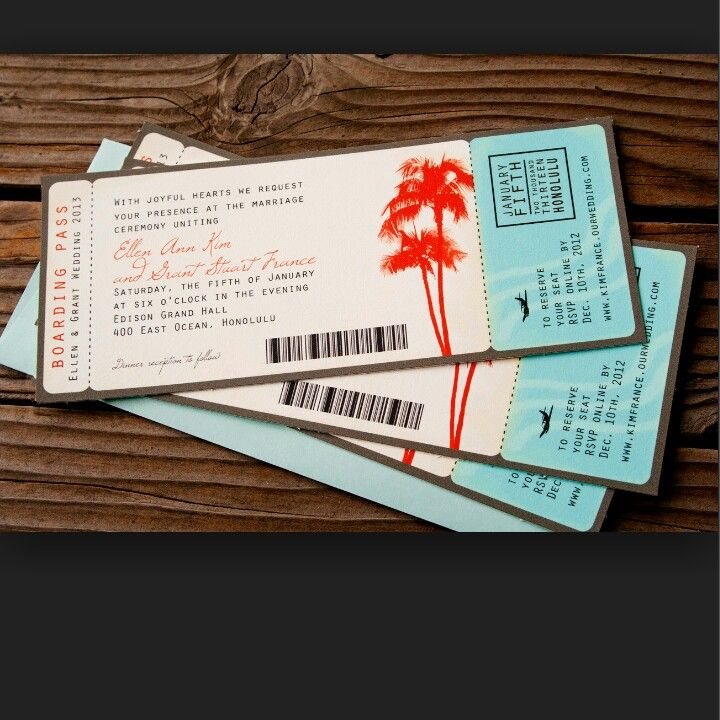 Palm trees boarding pass
